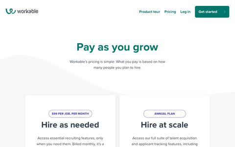 Screenshot of Pricing Page workable.com - Workable pricing | ATS and recruiting software - captured Sept. 9, 2019