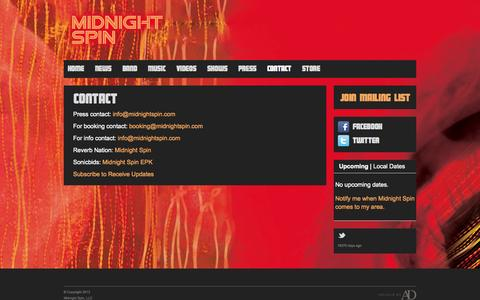 Screenshot of Contact Page midnightspin.com - Contact | Midnight Spin - captured Oct. 27, 2014