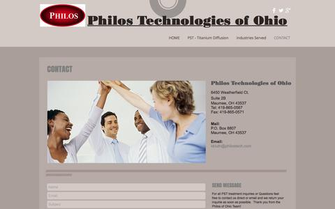 Screenshot of Contact Page titaniumdiffusion.com - Philos Technologies of Ohio | CONTACT - captured Nov. 6, 2016