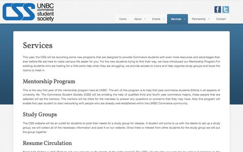 Screenshot of Services Page Signup Page unbccss.ca - Services - captured Oct. 23, 2014