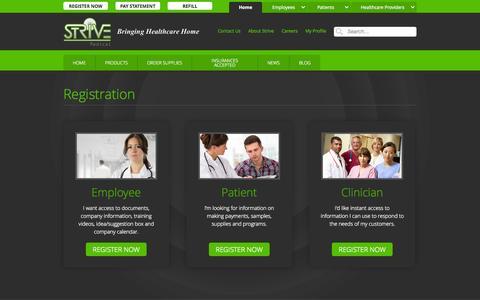 Screenshot of Signup Page strivemedical.com - Select Profile :: Strive Medical Wound Care & Urologicals - captured Oct. 7, 2014