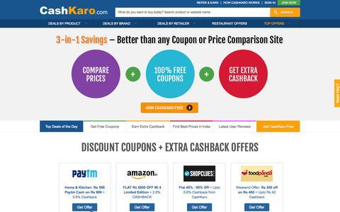 Screenshot of Home Page cashkaro.com - Discount Coupons & Extra Cashback on 500+ Sites -CashKaro - captured July 3, 2015