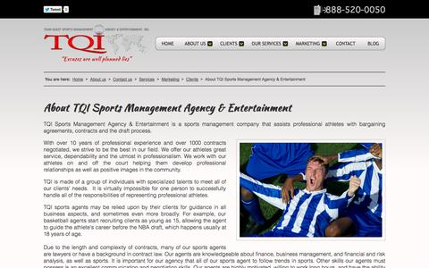 Screenshot of About Page tqisportsagency.com - About TQI Sports Management Agency & Entertainment - captured Oct. 6, 2014