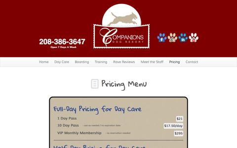 Screenshot of Pricing Page companionsdogresort.com - Pricing Menu | Companions Dog ResortCompanions Dog Resort - captured Sept. 30, 2014