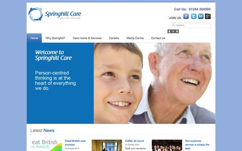 Screenshot of Home Page Site Map Page springhillcare.com - Care & Nursing Homes UK | Residential Care Group UK - Springhill Care Group Lancashire - captured Oct. 9, 2014