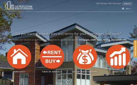Screenshot of Home Page auxiliummortgage.com - Mortgage Broker - Auxilium Mortgage Corporation | Victoria | Vancouver | Surrey | Kelowna | Richmond | Toronto - captured Feb. 6, 2016