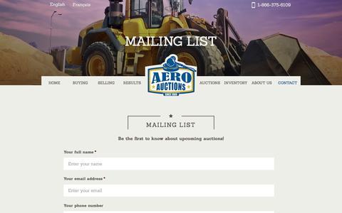 Screenshot of Signup Page aeroauctions.ca - Aero Auctions Mailing list - Aero Auctions - captured July 24, 2016
