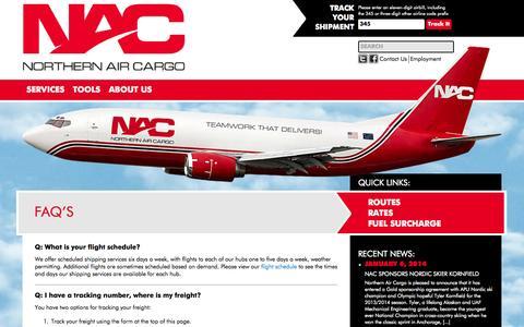 Screenshot of FAQ Page nac.aero - FAQ's | NAC - captured Oct. 9, 2014