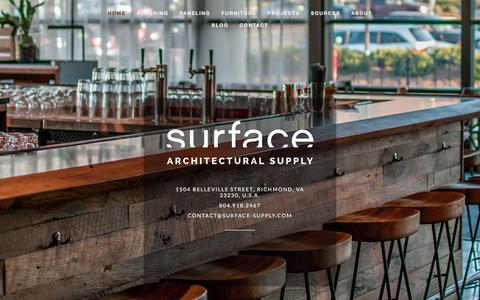 Screenshot of Home Page surface-supply.com - Reclaimed Wood Flooring & Paneling | Surface Architectural Supply - captured Feb. 16, 2016