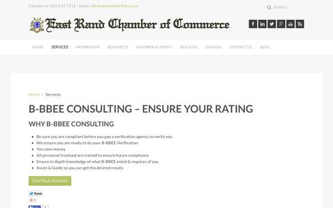 Screenshot of Services Page chamberlink.co.za - East Rand Chamber of Commerce - Chamberlink - Services - captured Oct. 1, 2014