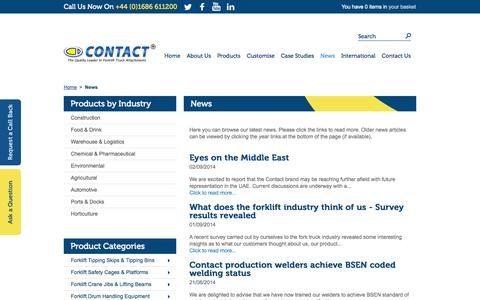 Screenshot of Press Page forklift-attachments.co.uk - News - captured Oct. 3, 2014