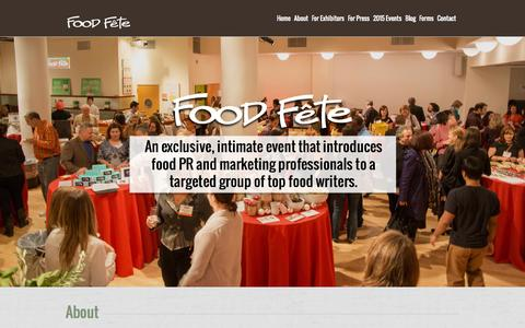 Screenshot of Home Page foodfete.com - Welcome to Food Fete :: food pr, food public relations, food fete, food marketing, food events, food and beverage pr, food trade show, gourmet food, press event - captured Sept. 30, 2014