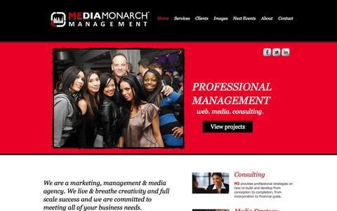 Screenshot of Home Page mediamonarchmanagement.com - Media Monarch Management - captured Sept. 30, 2014