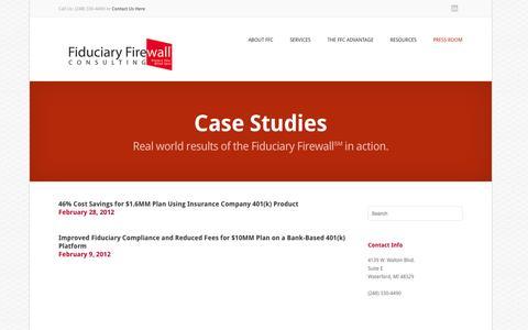 Screenshot of Case Studies Page fiduciaryfirewall.com - Case Studies | Fiduciary Firewall ConsultingFiduciary Firewall Consulting - captured Oct. 5, 2014