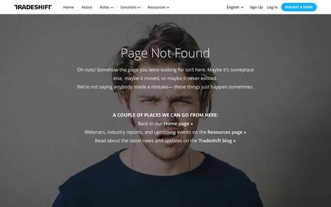 Screenshot of Case Studies Page tradeshift.com - 404 Page Not Found  Tradeshift - captured Jan. 13, 2017