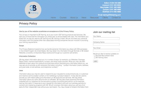 Screenshot of Privacy Page 3btraining.com - 3B Training | Privacy Policy - captured Oct. 5, 2014
