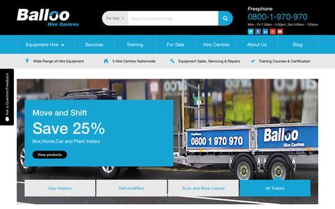 Screenshot of Home Page balloohire.com - Balloo Hire | Tool and Plant Hire Northern Ireland - captured Nov. 13, 2018