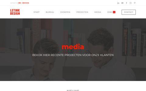 Screenshot of Press Page letink.nl - Media – Ontwerpbureau Letink Design - captured Sept. 28, 2018