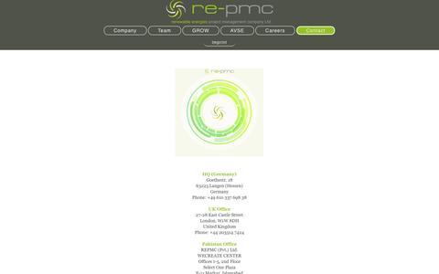 Screenshot of Contact Page re-pmc.com - Contact - captured Dec. 6, 2016