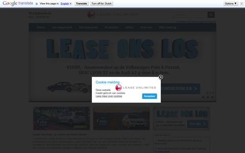 Screenshot of Home Page leaseunlimited.nl - Home » Lease Unlimited - captured Oct. 4, 2014