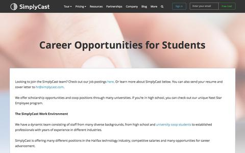 Screenshot of Jobs Page simplycast.com - Career Opportunities for Students - captured April 21, 2018