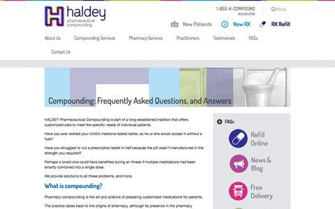 Screenshot of FAQ Page hcompound.com - Pharmaceutical Compounding Manhattan, Bronx | Custom Compounding FAQs - captured Oct. 1, 2014