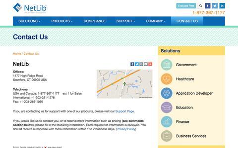 Screenshot of Contact Page netlib.com - Contact Us   NetLib - captured Aug. 15, 2016