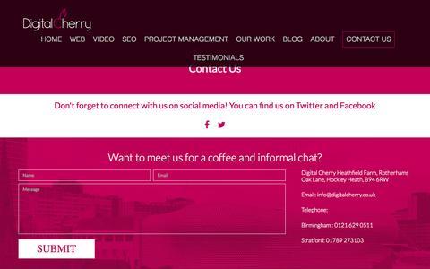 Screenshot of Contact Page digitalcherry.co.uk - Contact Us | Digital Cherry - captured Sept. 25, 2015