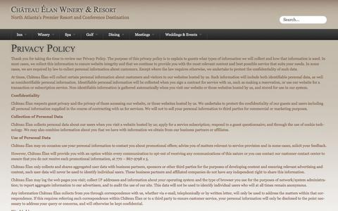 Screenshot of Privacy Page chateauelan.com - Privacy Policy - Château Élan Winery & Resort - Luxury Inn, Spa, Golf, Weddings and Meeting Destination - captured Oct. 30, 2014