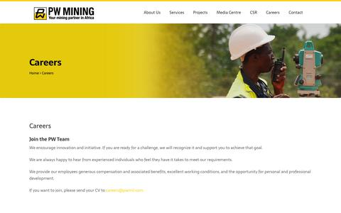 Screenshot of Jobs Page pwmil.com - Careers |  PW Mining - captured Dec. 13, 2018