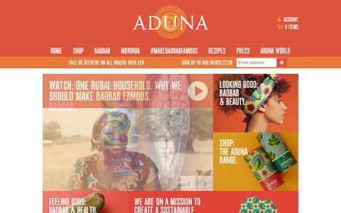 Screenshot of Home Page aduna.com - Aduna - captured Dec. 1, 2015