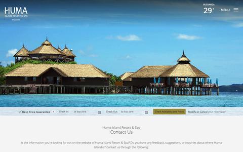 Screenshot of Contact Page humaisland.com - Huma Island Resort & Spa in Palawan | Contact Information - captured Sept. 30, 2018