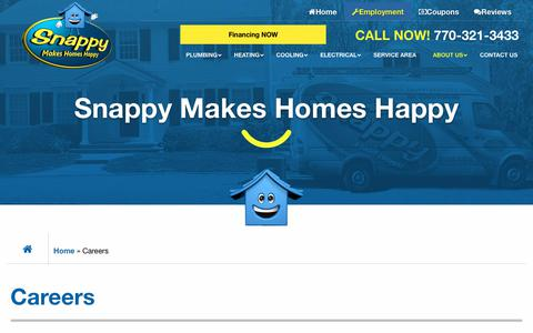 Screenshot of Jobs Page snappyservices.com - Career Opportunities - Snappy Electric, Plumbing, Heating, & Air - captured April 18, 2019