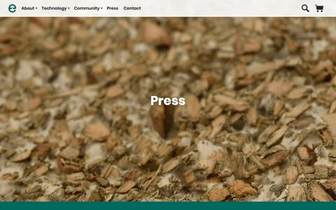 Screenshot of Press Page ecovativedesign.com - Press |      Mycelium Biofabrication Platform | Ecovative | Green Island, New York - captured Dec. 7, 2018