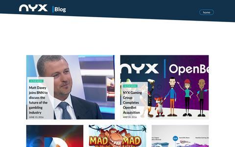 Screenshot of Blog nyxgaminggroup.com - NYX BLOG | NYX Gaming - captured June 30, 2016