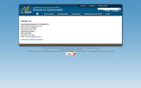 Screenshot of Contact Page ca.gov - Contact Us - Board of Optometry - captured Sept. 13, 2014