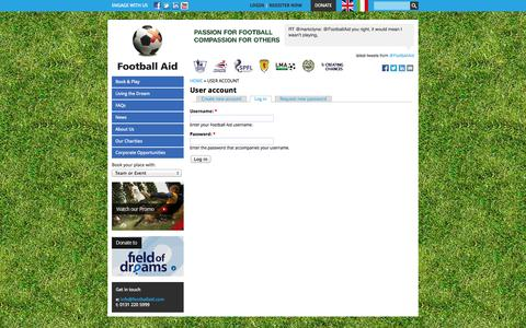 Screenshot of Login Page footballaid.com - User account | Football Aid - captured Oct. 27, 2014