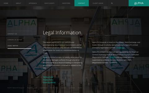 Screenshot of Terms Page alphafx.co.uk - Legal Information — Alpha FX Group plc - captured May 29, 2017