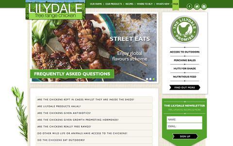 Screenshot of FAQ Page freerangechicken.com.au - Frequently Asked Questions - Lilydale free range chicken - captured Aug. 14, 2017
