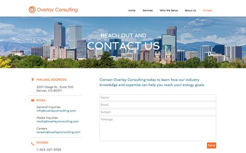 Screenshot of Contact Page overlayconsulting.com - Overlay Consulting | Contact - captured Nov. 11, 2017