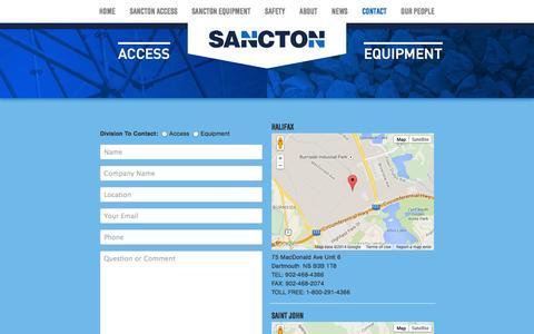 Screenshot of Contact Page sancton.com - Contact | Sancton - captured Oct. 4, 2014