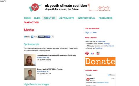 Screenshot of Press Page ukycc.org - UK Youth Climate Coalition   Media - captured Oct. 3, 2014