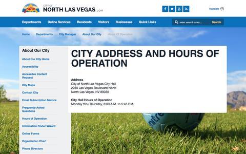 Screenshot of Hours Page cityofnorthlasvegas.com - City Address and Hours of Operation - captured July 13, 2016