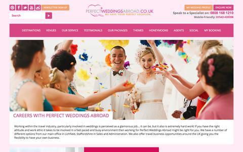Screenshot of Jobs Page perfectweddingsabroad.co.uk - Careers with Perfect Weddings Abroad | Perfect Weddings Abroad - captured July 17, 2018