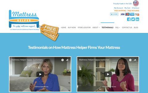 Screenshot of Testimonials Page mattresshelper.com - Why Mattress Helper helps lower back pain firmer sleep | Testimonials - captured Oct. 17, 2017