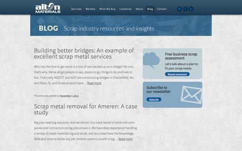 Screenshot of Blog altonmaterials.com - Scrap metal blog   recycling guide   Alton Materials - captured Sept. 30, 2014