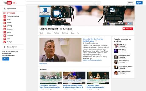 Screenshot of YouTube Page youtube.com - Lasting Blueprint Productions  - YouTube - captured Oct. 22, 2014