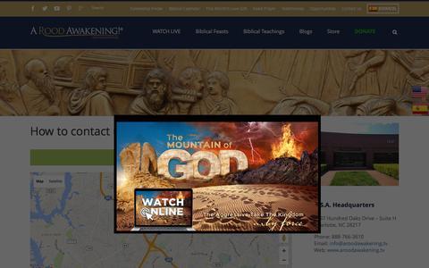 Screenshot of Contact Page aroodawakening.tv - Contact A Rood Awakening! International - captured Dec. 9, 2015