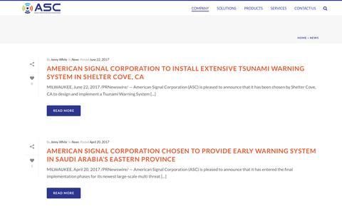 Screenshot of Press Page americansignal.com - News - American Signal Corp. - captured July 7, 2017