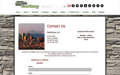 Screenshot of Contact Page nextstone.com - NextStone | Contact Us - captured June 13, 2017